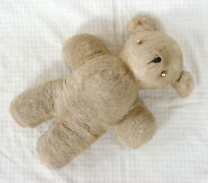 Vintage-Straw-Stuffed-Mohair-Teddy-Bear-Porcelain-Bakelite-Button-Eyes-17-034-Beige
