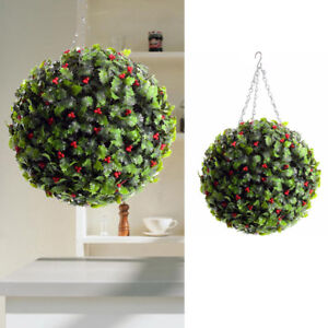 Christmas Topiary Balls.Details About Hanging Topiary Balls Artificial Holly Red Berry Garden Outdoor Christmas Decor