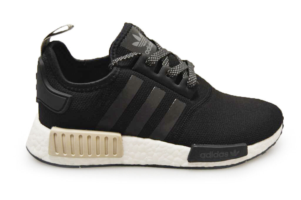Mens Adidas NMD_R1 - S76847 - Black White Tan Trainers
