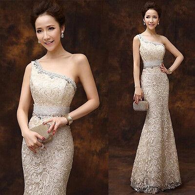 One Shoulder Formal Evening Prom Bridesmaids Dress Mermaid Ballgown Diamante C88
