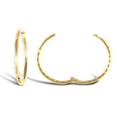 9ct Gold Diamond Cut Hinged Sleeper Hoop Earrings 12mm