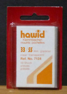 HAWID-STAMP-MOUNTS-CLEAR-Pack-of-50-Individual-33mm-x-55mm-Ref-No-7124