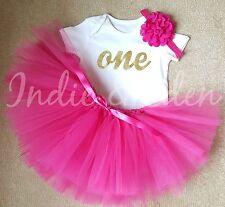 Pink & Gold Girls Baby One 1st Birthday Tutu & Vest Set Photo Prop Cake Smash