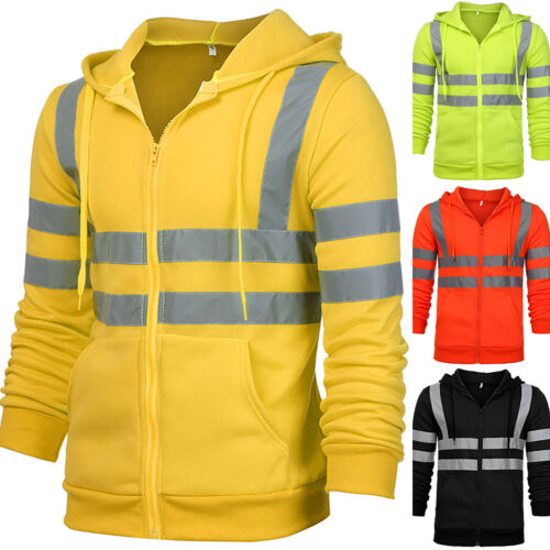Hi Viz Vis High Visibility Jackets Hoodie Work Zip Hooded SweatShirt Fleece Coat