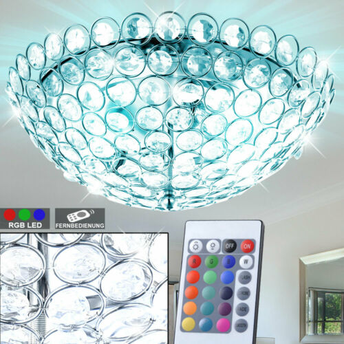 RGB LED Luxus Decken Leuchte Farbwechsel Wohn Ess Zimmer Kristall Lampe Dimmer