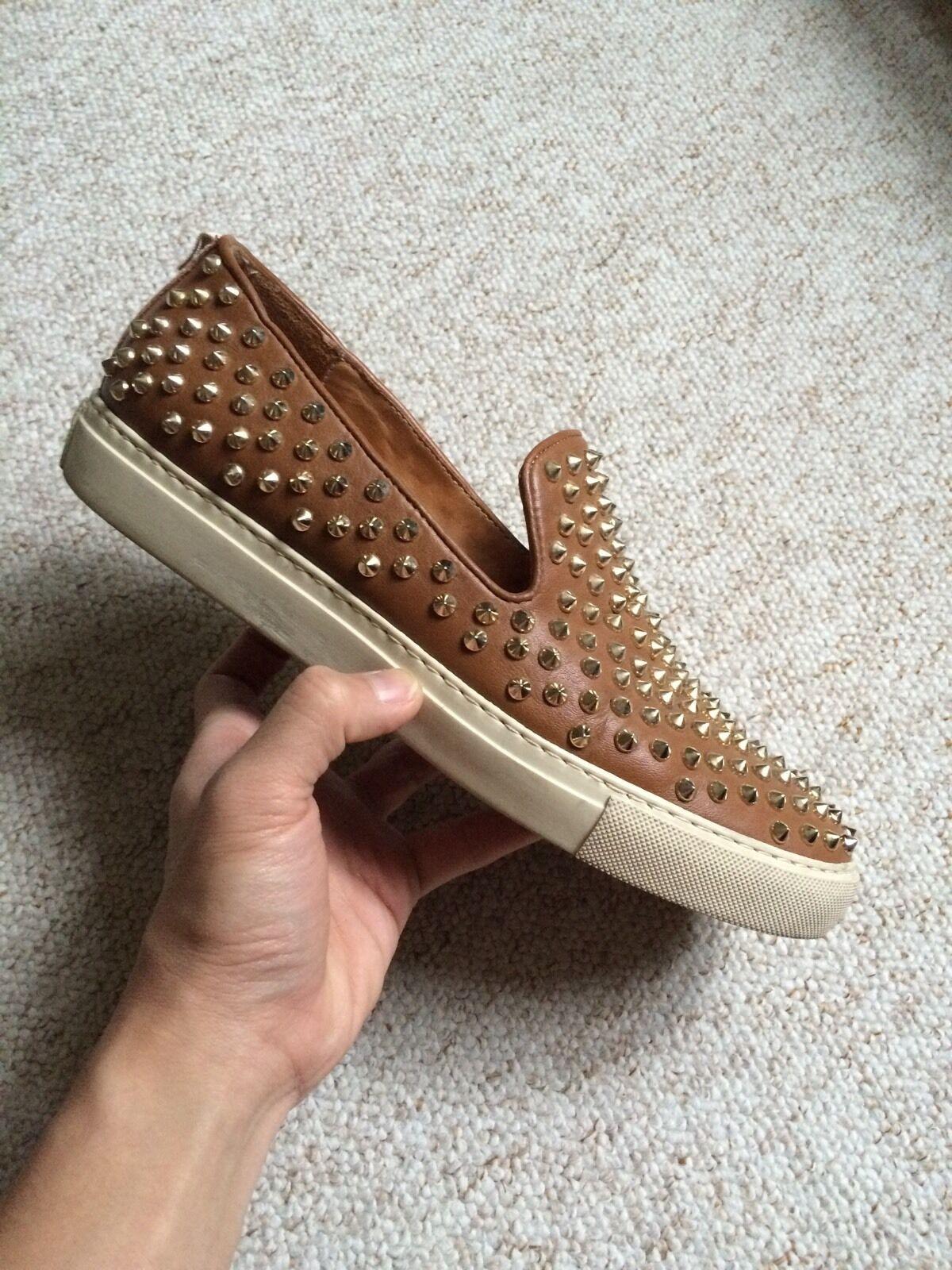 Giacomorelli Leather Slippers SlipOns Loafer Plimsolls Brown gold Studs Eu40