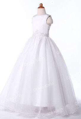 Wedding Bridesmaid Dress Flower Sweet Girls Pageant Evening Formal White Dresses