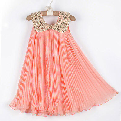 Girl Kids Baby Toddler Chiffon Sequin Pleated Dress Outfit Clothes 2-3Y Pink