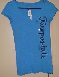 Aeropostale-Aero-Sleep-Girls-Womens-Size-S-M-Blue-Gray-Short-Sleeve-T-Shirt-New