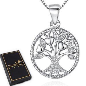 Lebensbaum-Halskette-925-Sterling-Silber-Damen-Swarovski-Kristalle-inkl-ETUI