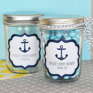 96 8oz Glass Mason Jars Nautical Anchor Personalized Baby Shower Favors Lot