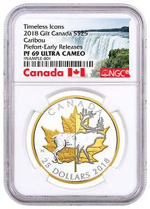 2018-Canada-Icons-Caribou-Piedfort-1-oz-Silver-Gilt-25-NGC-PF69-UC-ER-SKU52283