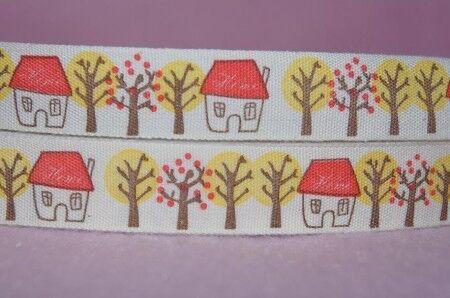 1286 Haus im Wald Webband Borte 15mm Ripsband