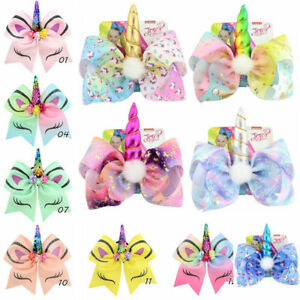 """8/"""" Large Hair Clip Unicorn Bow Hairpin Kids Girls Baby Hair Clip Gifts New"""