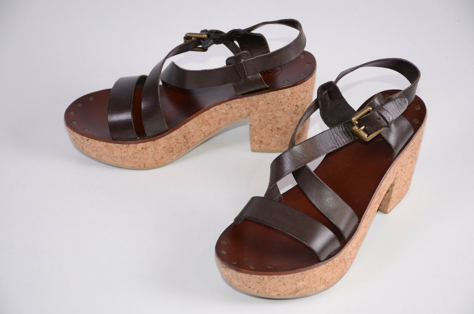 ASH Women's Sandals Size 38 Brown Leather Cork Cuban 7.5 US Casual Fun Vacation