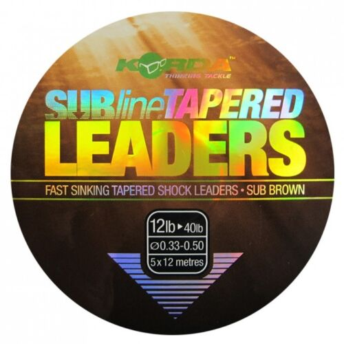 Korda Subline Tapered Leaders 5 x 12m All Sizes Available