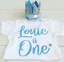 Personalised Boys First 1st Birthday Outfit Cake Smash Set /& Crown Hat Baby Blue