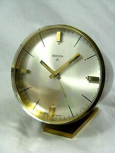 Schoene-SWIZA-Tischuhr-Wecker-alarm-table-clock-Swiss-made-8-days-working-420Gr