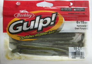 "BERKLEY GULP Wacky Crawler Soft Plastic Worm 5/"" 10ct GREEN PUMPKIN"