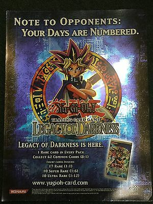Yugioh Upper Deck Legacy of Darkness Promotional Poster Near Mint Fast Shipping!