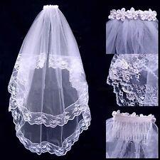 Damen Brautschleier Hochzeit Schleier 2lg zweilagig Brautschleier mit Kamm