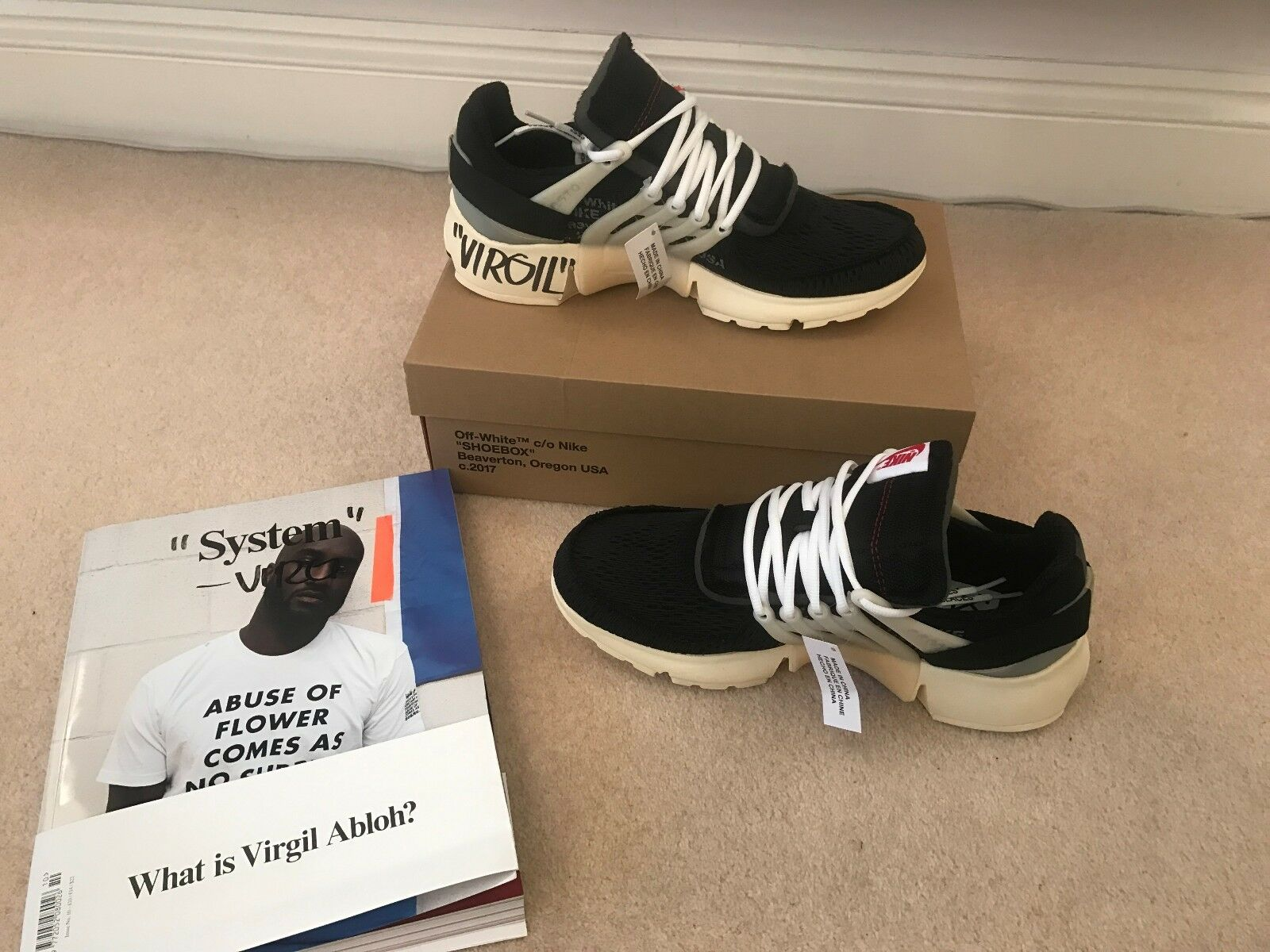 2017 NIKE X OFF WHITE PRESTO - SIGNED BY VIRGIL ABLOH - / US 11- VERY RARE