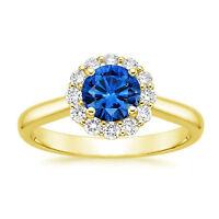Natural Diamond 1.78 Ct Real Blue Sapphire Rings 14K Yellow Gold Gemstone Ring