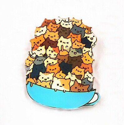 Cats In A Cup Cartoon Badge CATS IN THE CUP Meme DM Cute Pin badge Kawaii MEME