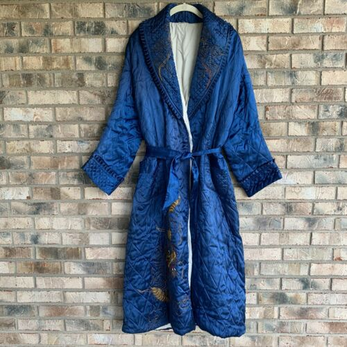 Vintage Robe House Coat Quilted Blue Embroidered D