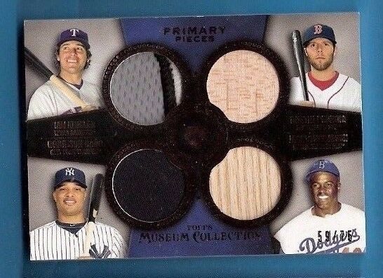 JACKIE ROBINSON DUSTIN PEDROIA ROBINSON CANO 4 GAME USED JERSEY BAT CARD KINSLER