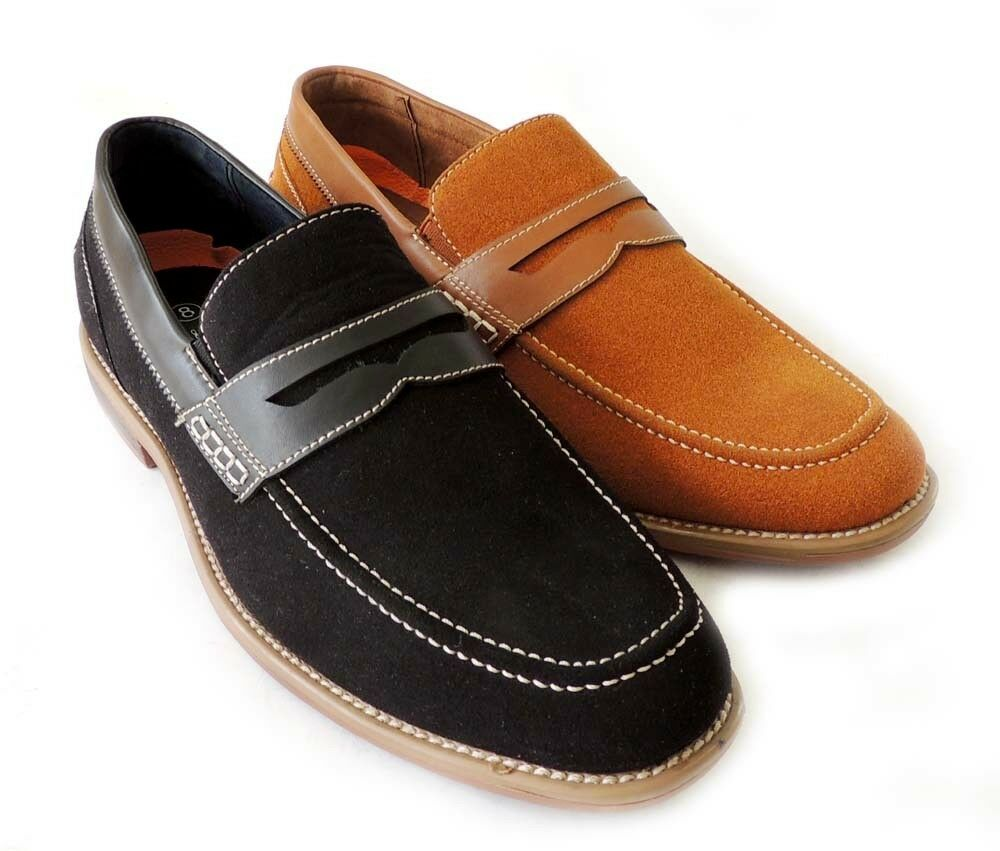 NEW Uomo PENNY LOAFER SLIP ON FAUX SUEDE LEATHER  DRESS SHOE COMFORT / 2 COLORS