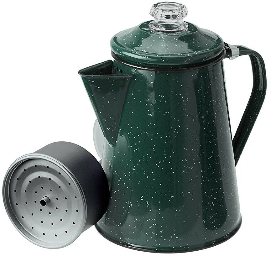 Coffee Percolator 12  Cup Enamelware Green Stovetop Cabin Camping Tea Java Brews  best sale