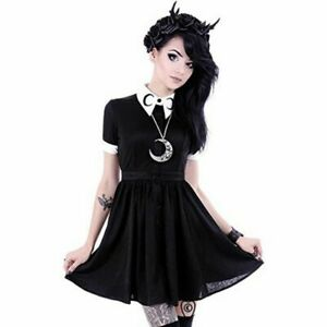 Gothic-Lolita-Girl-Crescent-Moon-Embroidered-Black-Pointed-Collared-Dress-Blouse