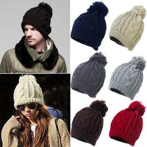 Men Womens Winter Knitted Twist Oversized warm Slouch Bobble Pom Ski ... c3a9c96b55d