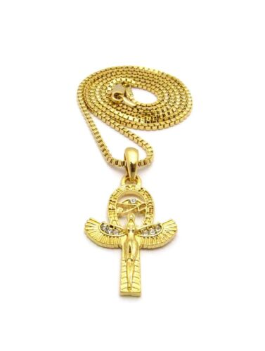"""Stone Stud Egyptian Eye of Heru Ankh Wing Pendant w// 24/"""" Various Chain Necklace"""