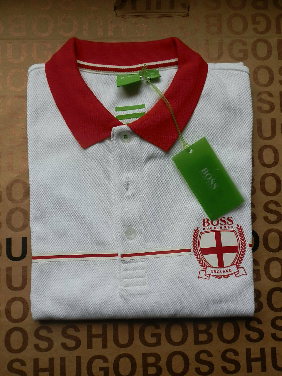 NUOVO Hugo Boss Da Uomo Rugby League Union World Cup Team Bianco ENGLAND POLO T-shirt
