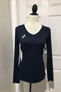 New-ASICS-Women-039-s-Shirt-M-Medium-Long-Sleeve-Team-Performance-Volleyball-Blue