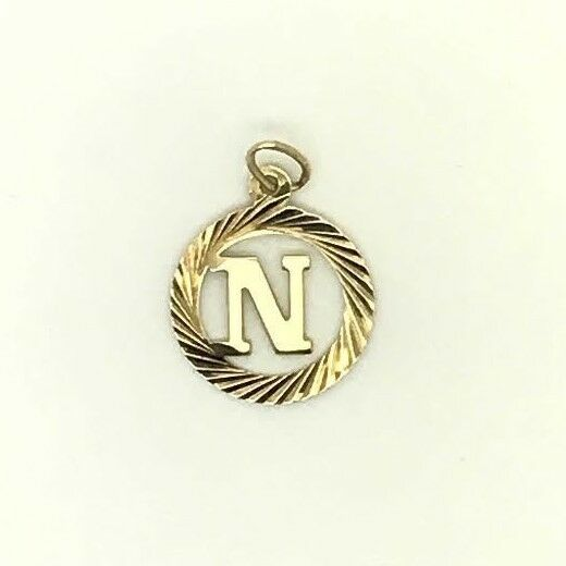 14k Yellow gold  N  initial Letter Design Charm Pendant