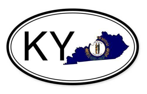 SELECT SIZE Kentucky State Flag Oval Car Vinyl Sticker