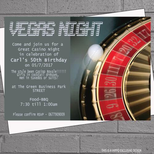 12 x Casino Vegas Night Themed Birthday Party InvitationsH0983