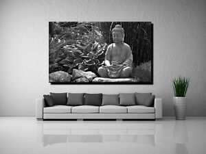 leinwand bild er xxl pop art buddha zen yoga natur erholung japan s w bis 150x90 ebay. Black Bedroom Furniture Sets. Home Design Ideas