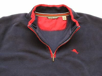 Tommy Bahama Blue 1/2 Zip ribbed fleece pullover sweater jumper jacket XXL 2XL