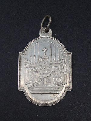 Zelfverzekerd Ancienne Belle Médaille Religieuse Pendentif Argent Massif Souvenir Communion Rijk En Prachtig