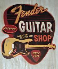 """Fender Guitar Shop"" Electric LARGE Sign Metal Embossed - Pick Shaped - NEW"
