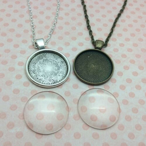 Pendant necklace kit jewellery making glass dome cabochon setting and chain