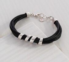 "Silpada NIB ""City Slicker"" Black Leather Sterling Silver Bracelet B3207"