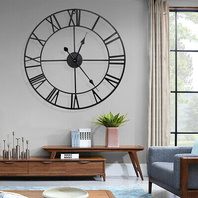 23 6 Large Outdoor Garden Wall Clock Big Roman Numeral Round Giant Open Face Us Ebay