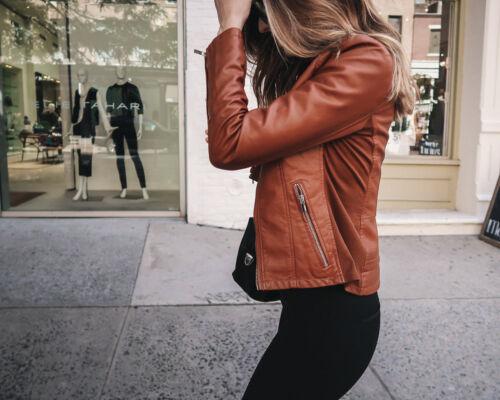 Femmes Véritable Peau d/'agneau cuir moto Slim Fit Homme Veste De Motard