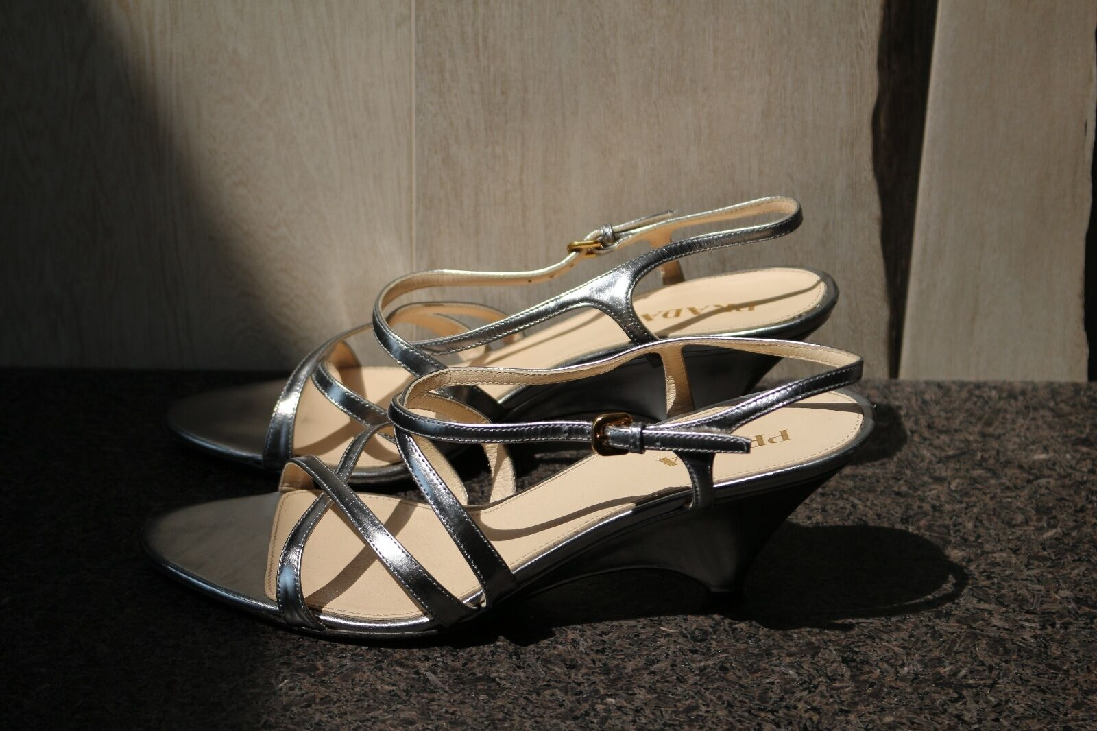 PRADA  PlatformWedge Strappy Schuhes Sandales Open Toe Schuhes Strappy 39.5 7e142e