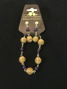 Brazilian-Golden-Grass-Earring-and-Bracelet-with-purple-Set-Organic-Jewlery-Capi